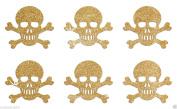 24 Gold Skull Bones Self Adhesive Glitter Stickers Card making craft diy 2.5cm