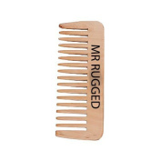 Mr Rugged Wooden Beard Comb - One of a Kind Beard Comb Handmade from Peach Wood - Distributes Beard Oil & Balm - Gentler to Hair Than Metal & Plastic Comb and Brush Products