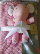 Mini Muffin Baby-Girls 3 Piece Velboa & Patchwork Baby Blanket 30 x 30 With Buddy Toy And Keepsake Hanger, Pink Elephant