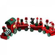 Orangesky 4 Pieces Wood Christmas Xmas Train Decoration