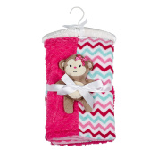Mini Muffin Baby-Girls 3 Piece Velboa & Patchwork Baby Blanket 30 x 30 With Buddy Toy And Keepsake Hanger, Pink Monkey