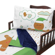 3pc RoomCraft Cosy Gingerbread Cookies Toddler Bedding Set Christmas Holiday Blanket Sheet and Pillowcase Set