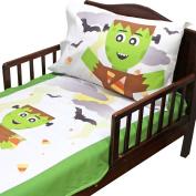 3pc RoomCraft Frankenstein Friends Toddler Bedding Set Halloween Blanket Sheet and Pillowcase Set
