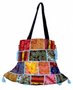 Ethnic Cotton Canvas Embroidery Mirror Work Hippie Boho Tote Indian Sling Shoulder Bag