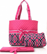 Vine Print Quilted Nappy Bag PINK
