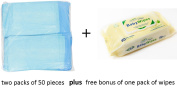 Healthline Blue (Chux) Disposable Underpads 60cm x 90cm Count (100/pack) Plus Baby Bonus