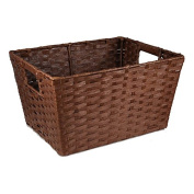 Small Rectangular Paper Fibre with In-Handle Basket - Brown