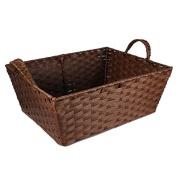 Small Rectangular Paper Fibre Handle Basket - Brown