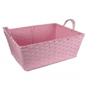 Small Rectangular Paper Fibre Handle Basket - Pink