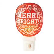 Merry and Bright Red 13cm Christmas Glass Electric Night Light
