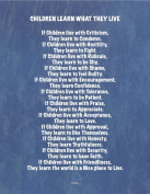Children Learn What They Live Poem, Nursery Art, Chalk on Denim Art Card