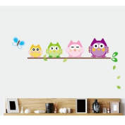MLMSZ Owls on a Branch Removable PVC Wall Mural Decals Baby Nursery Kids Room Stickers Home Decor