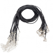 Souarts Black Wax Cord Necklace with Lobster Clasp Pack of 20pcs