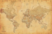 World Map Vintage Style Longitude Latitude Earth Atlas Poster - 18x12