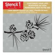 Stencil1 15cm x 15cm Stencil-Pine Branch