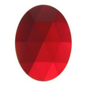 Stained Glass Jewels - 40x30mm Oval Faceted - Red