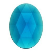Stained Glass Jewels - 40x30mm Oval Faceted - Turquoise