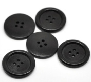 PEPPERLONELY Brand 30PC Black 4 Hole Scrapbooking Sewing Wood Buttons 30mm