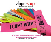 Zipperstop Wholesale YKK®- 36cm 50 Pieces Mixed Colours Nylon Coil Zippers with Customised Zipperstop Ribbon - Tailor Sewer Craft YKK® #3 Skirt & Dress Zippers 36cm Crafter's Special Made in USA