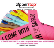 Zipperstop Wholesale YKK®- 15 Assorted 7.6cm Doll Zippers Nylon Coil Zippers YKK® #3 Skirt & Dress Zippers Closed Bottom 7.6cm Made in USA with Customised Zipperstop Ribbon - Crafter's Special