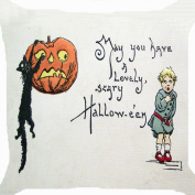 Cushion cover throw pillow case 46cm retro vintage Halloween pumpkin lantern witch pet black cat boy scary funny both sides image zipper