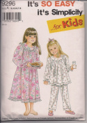 Simplicity - For Kids - 9296 Girl's Puffy Sleeve, Yoked Pyjamas or Nightgown Size A 3-8