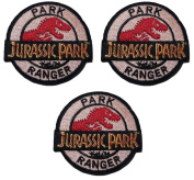 JURASSIC PARK Park Ranger 7cm Diameter SET OF 3 Embroidered PATCHES
