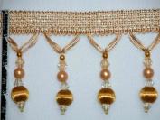 8.9cm Tassel Fringe Beads Wood Ball Trim Lite Gold Per Yard