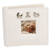 Bambino CG921 Baby Christening Guest Book, Silver Charms