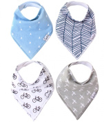 Baby Bandana Drool Bibs for Boy Cruise 4 Pack of Unisex Absorbent Cotton Modern Baby Gift Set for Boys By Copper Pearl