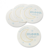 Kate Aspen To The Moon and Back Paper Coasters, White