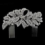 Sunshinesmile Crystal Leaf Bowknot Bridal Hair Combs Tiara Wedding Hair Jewellery