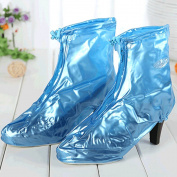 Spritech(TM) Women's Waterproof High-upper Shoe Covers for High-heeled Shoes XL Blue