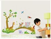 Jungle Animal Across the Bridge Removable Cartoon Wall Sticker Wall Decal Wall Decor Wallpaper for Kids Children Room