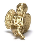 Dollhouse Miniature Pondering Cherub in Gold by Falcon Miniatures
