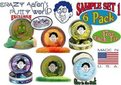 "Crazy Aaron's Thinking Putty Mini Tin Gift Set Bundle (Sample Set 1) with Super Scarab, Sunburst, Ion, Super Oil Slick, Chameleon & Exclusive ""Lizard Lips"" Hypercolor - 6 Pack"