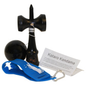 Kotaro Kendama Black Tama and Ken Deluxe Pro Toy Catch Game with Extra String and Carrying Holster