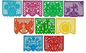 CalMex Large Plastic Mexican Papel Picado 4.6m Long Banner Designs as Pictured