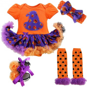 iEFiEL Baby Girls 4PCs Outfits Sets Clothing Romper Tutu Dress Headband Shoes Leggings
