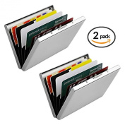 Ultra Thin Aluminium Metal Wallets - RFID Blocking Credit Card Wallet Holder for Men & Women - Best Card Protector with 6 PVC Slots and Durable Stainless Steel Latch