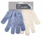 2 Pair Exfoliating Bath Gloves Shower Bathroom Skin Face Body Wash Massage Loofah Scrub Spa Mitt Tan