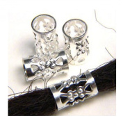 10 Silver Plated DREADLOCK HAIR CUFFS Bead Tube Dreads Braids Plaits