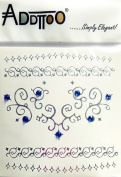 Addttoo New Range! Feature Tattoo - Silver Pendant and Blue Crystals