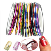 MLMSZ Set of 32 Nail Tape Stripe Decoration Sticker Hologram Gold and Silver Nail Line