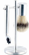 Sichler Men's Care Stainless-Steel Shaving Kit with Brush and Stand