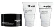 Kyoku for Men Exfoliating Facial Scrub, Lava Masque, Daily Facial Cleanser 3PACK