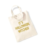 Small Tote Bag 'It's Halloween Witches' - Canvas Slogan Mini Tote Treat Party Bag