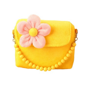 Happy Cherry Little Girls Princess Flower Package Messenger Shoulder Bag Handbag Purse - Yellow