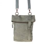 Shoulder bag leather washed garment-dyed with strap DUDU Ash Grey