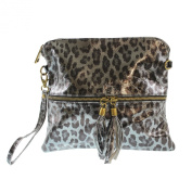 CTM Woman's clutch, small handbag in Animalier style with shoulder belt, italian genuine leather bag made in Italy 25x23.5x2 Cm